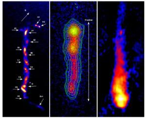 Optičko (lijevo), rendgensko (u sredini) i radio (desno) opažanje mlaza kvazara 3C 273.
